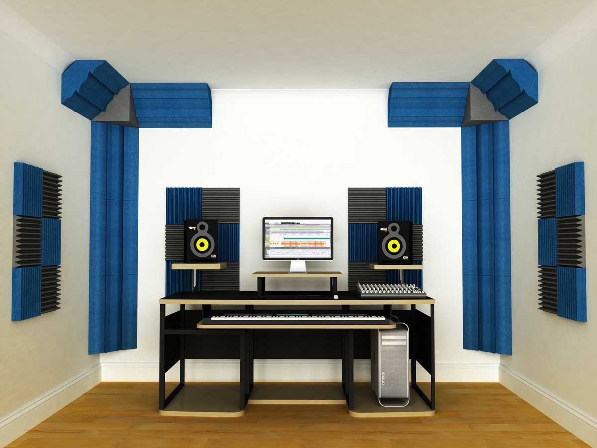 An example of Acoustic Foam panels in a recording studio