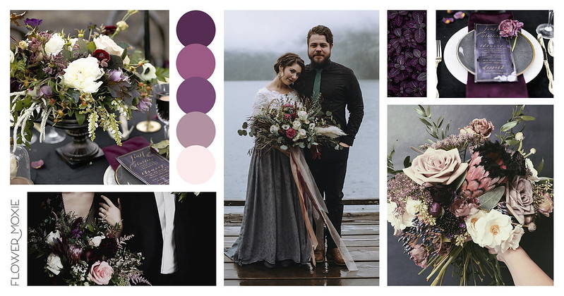 Dark Plum, Eggplant, and Moody Violet Wedding Flower Packages