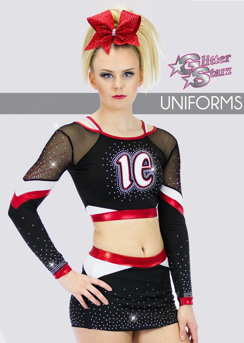 glitterstarz custom team uniforms for cheer and dance with rhinestone logo bling metallic fabrics