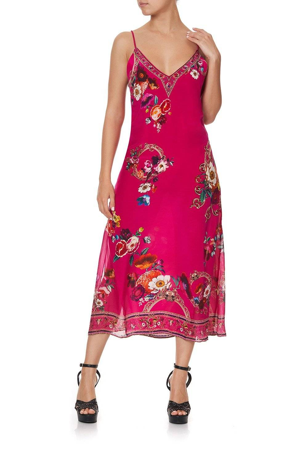 CAMILLA pink and floral slip dress