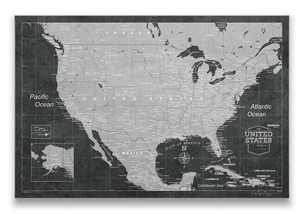 United States Map Pin Board Modern Slate