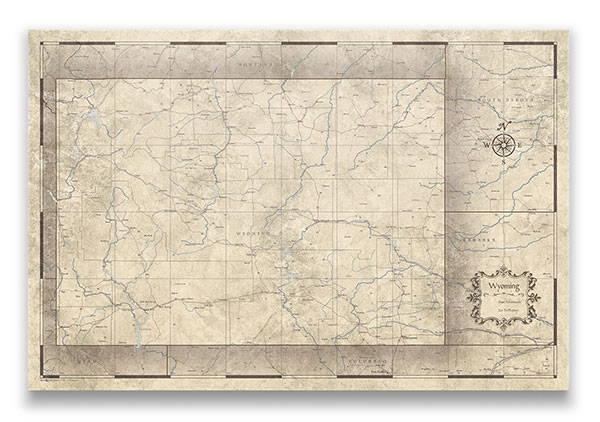 Wyoming Push pin travel map rustic vintage