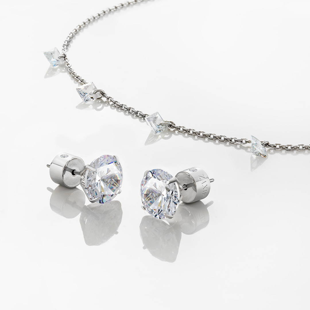 Delicate crystal necklace and stud earrings