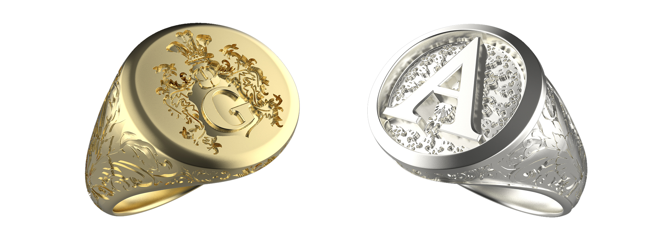 Girati Gold and Silver Customisable Ornamental and Familycrest Signet Rings