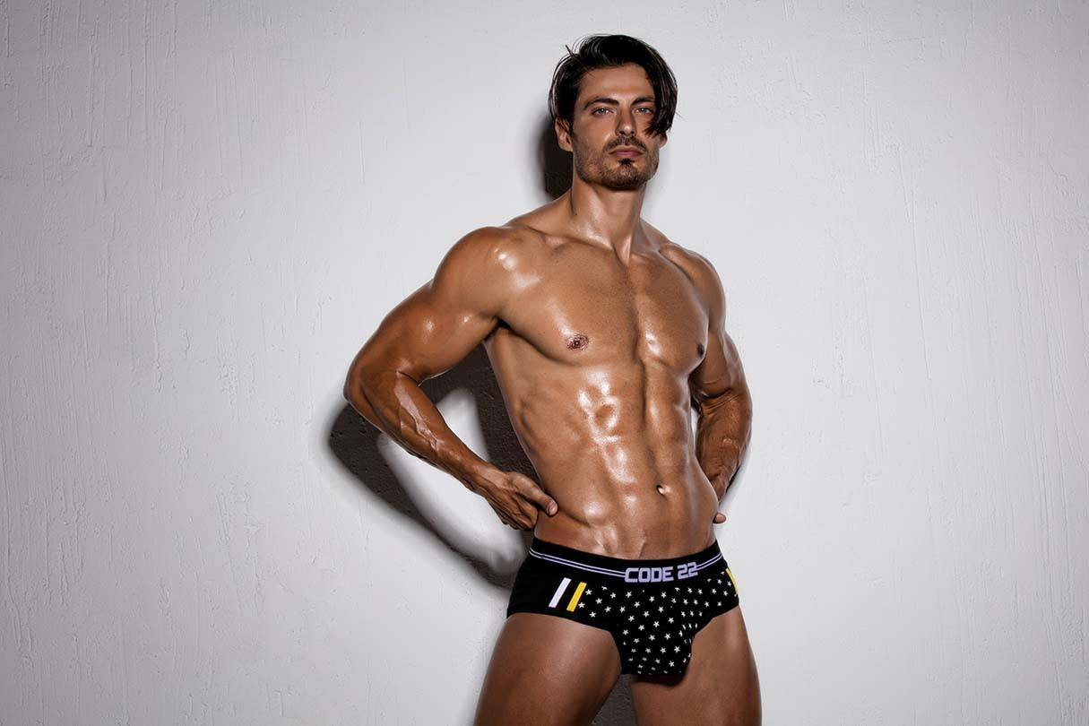Code 22 Mens Underwear, Sportswear and Swimwear | It's About The Man | Male Model wearing Code 22 Underwear, Stars Briefs, Shirtless Model, Male Model wearing Code 22 Stars Briefs