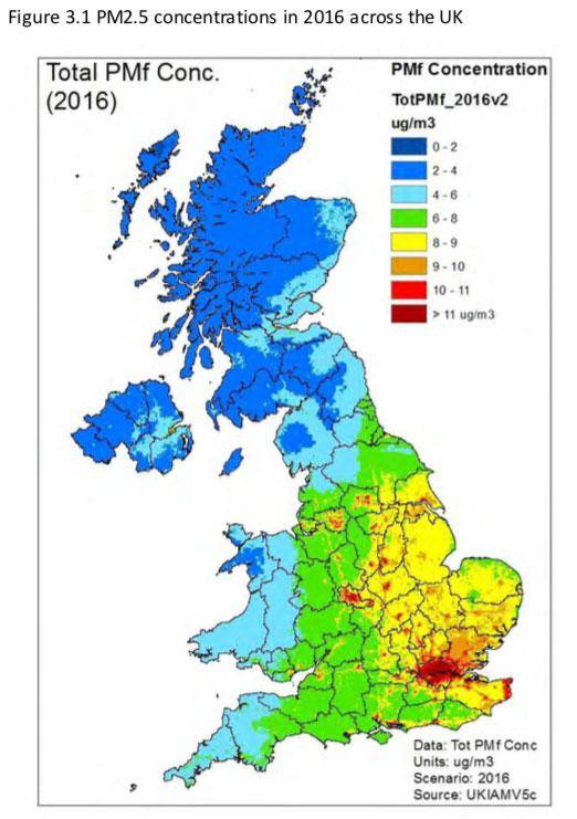 Map of UK with PM2.5 Concentrations