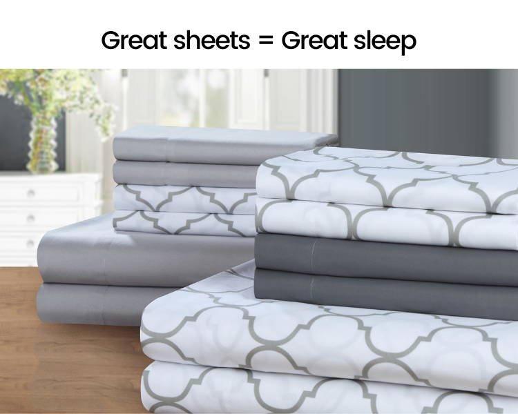 An image of stacks of sheets on a dresser