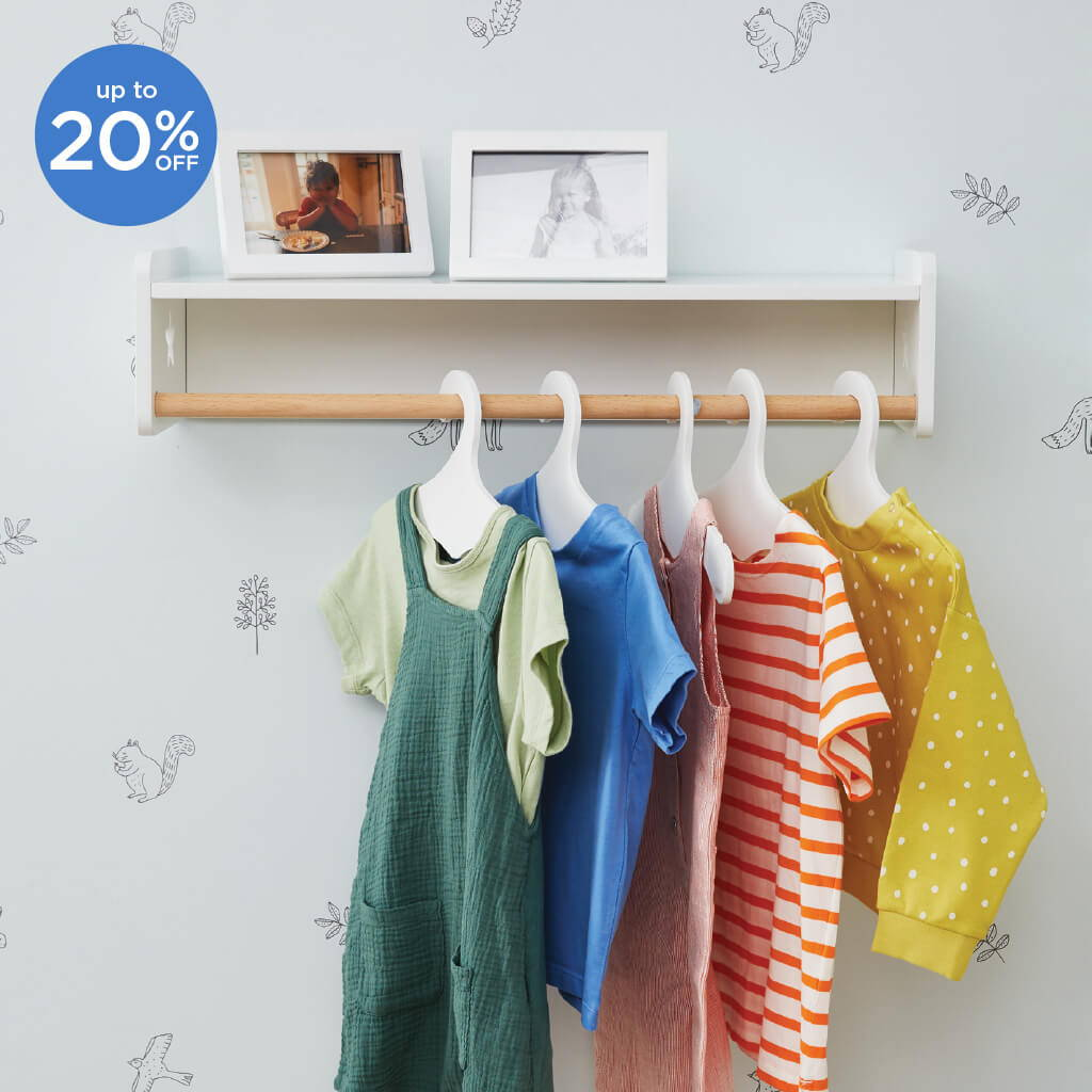 Young child's clothes handing on Tomorrow's Clothes Rail in Nursery