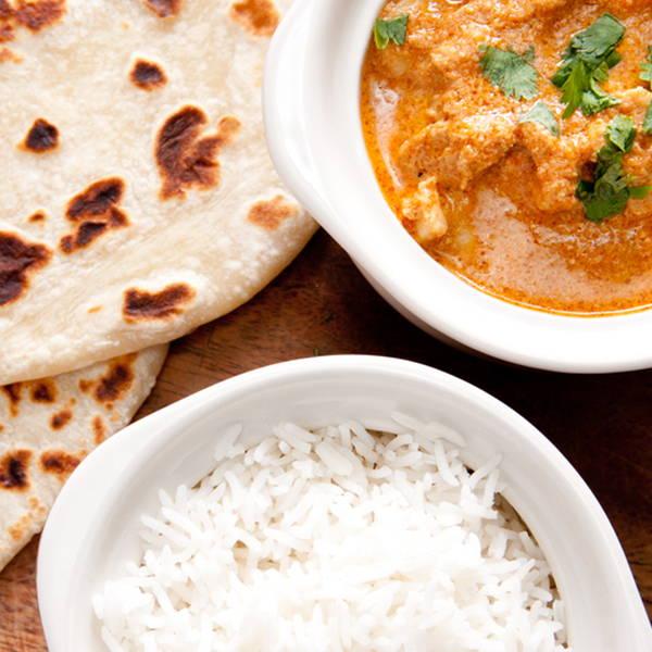 High Quality Organics Express naan, white rice, and garam masala curry