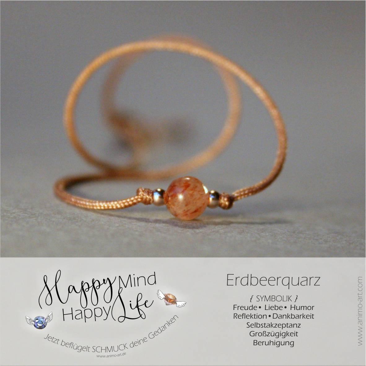 Erdbeerquarz Bedeutung / Schmuck mit Erdbeerquarz-Edelstein in Rot Orange Rotbraun, , Happy Mind Happy Life