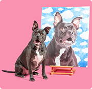 custom pet art on wrapped canvas