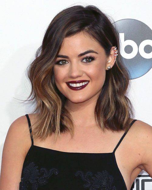 Lucy Hale with a brunette long bob