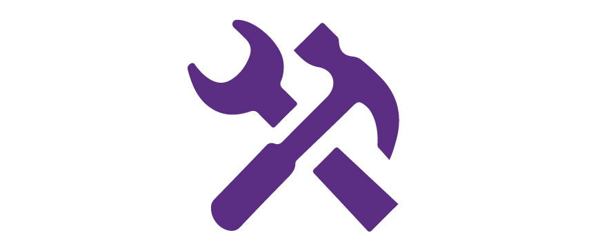 Icon of hammer crossing wrench