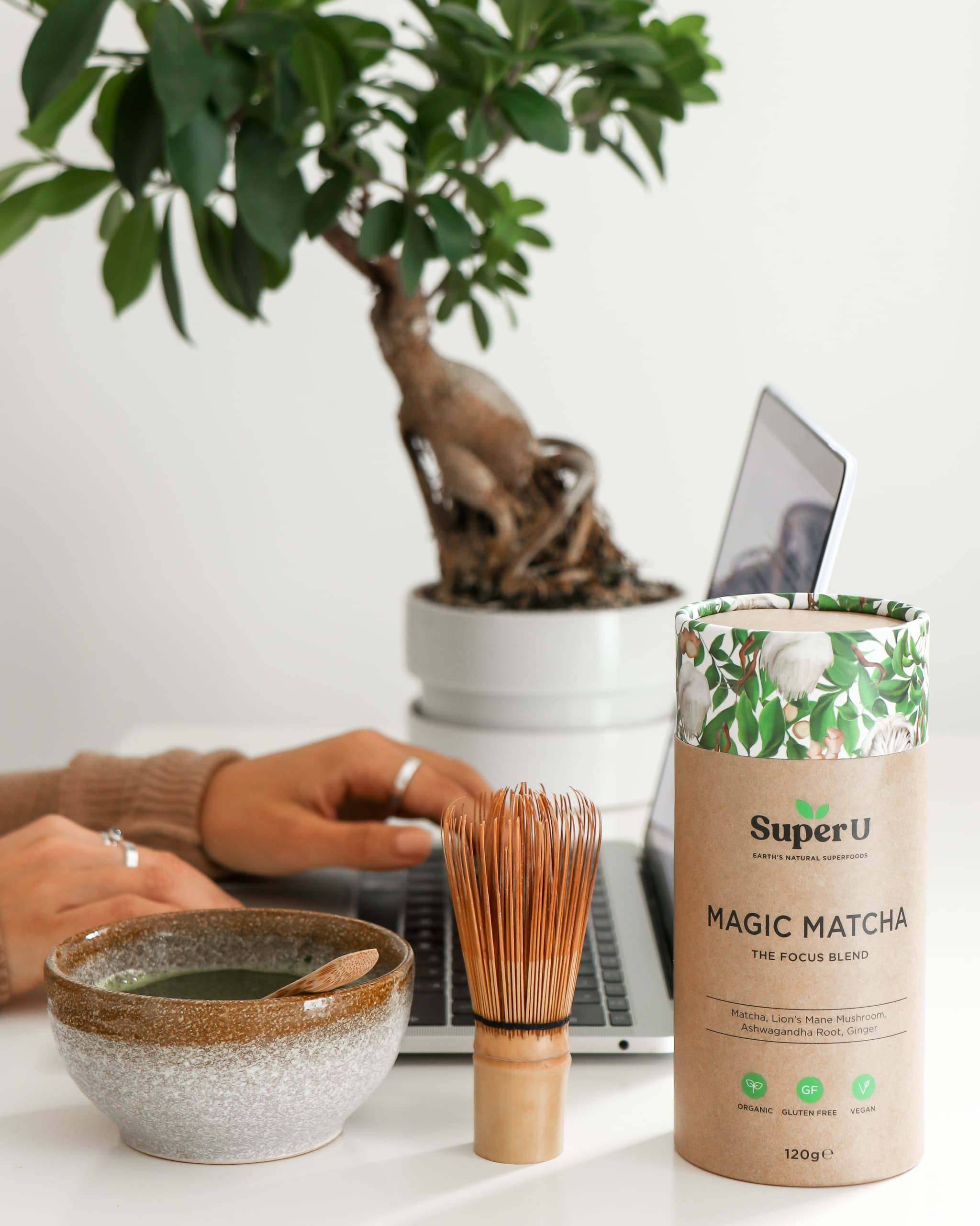 Magic Matcha green tea drink made using the focus blend, a source of adaptogens and  dual-extracted functional mushrooms