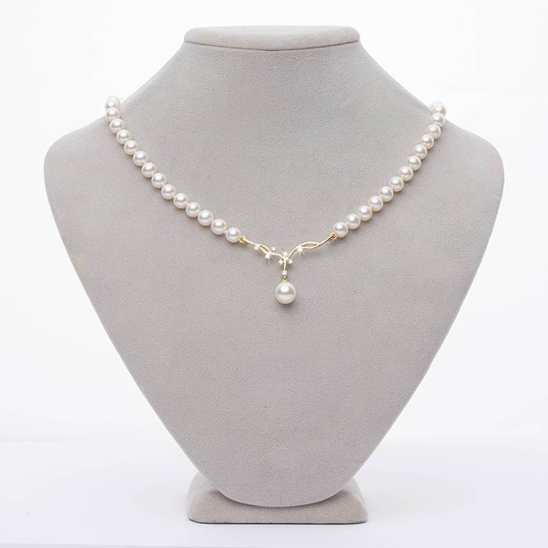 Custom Design Pearl Jewelry - Diamond and Pearl Vine Necklace