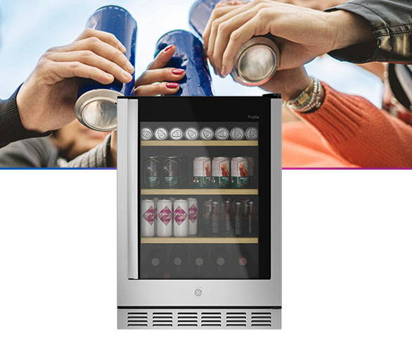 Beverage center with group of friends behind, toasting with cans of their favorite beverage!