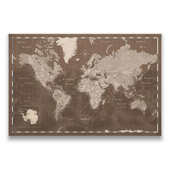 Push Pin World Travel Map & Push Pins - Deep Espresso