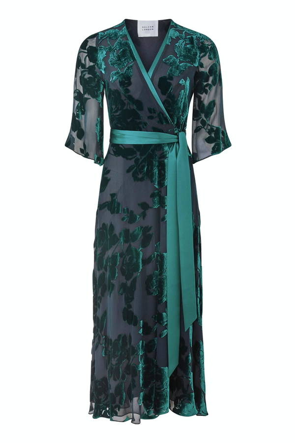 Galvan London Cropped Floral Blue Velvet Wrap Dress