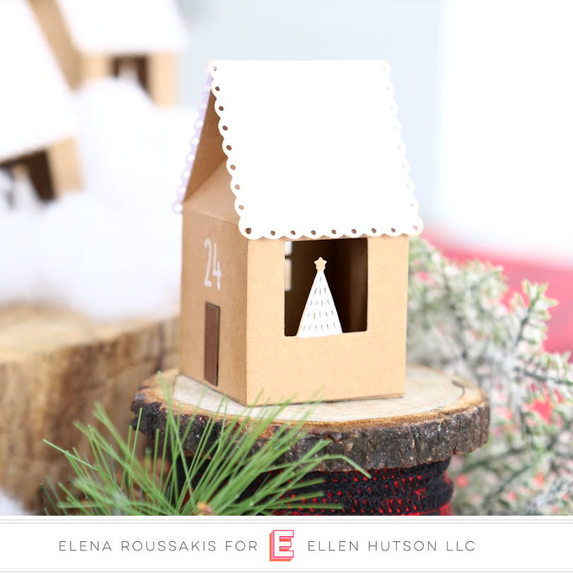 Closeup of DIY Advent Houses with Essentials by Ellen House Box die
