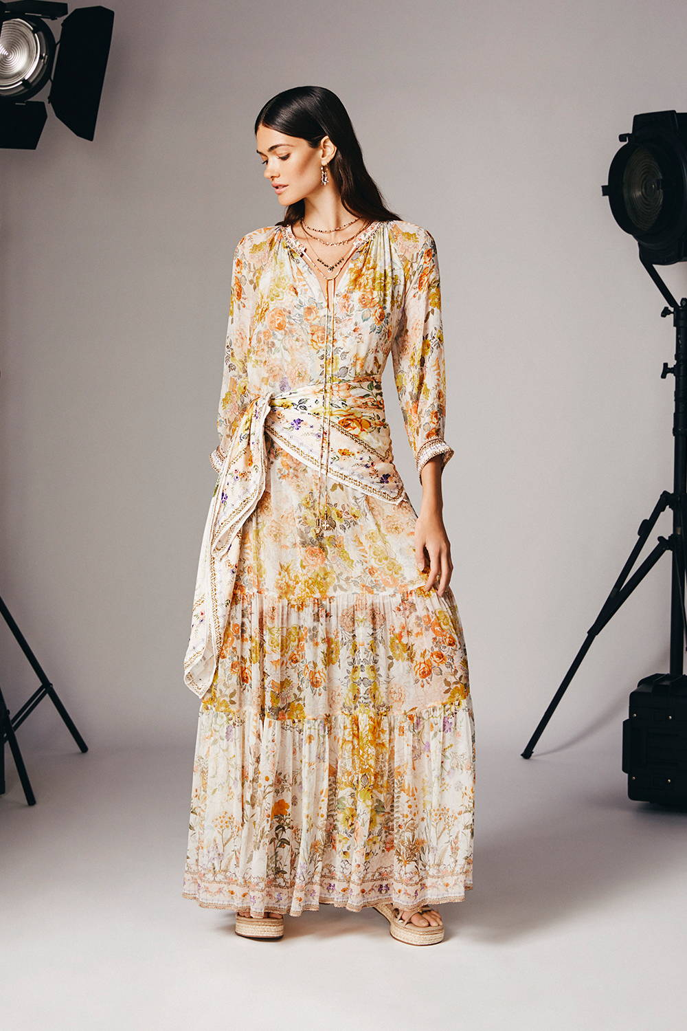 LONG GATHERED PANEL DRESS IN THE HILLS OF TUSCANY