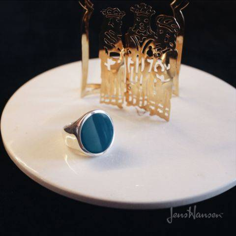 ROUND RESIN RINGS, STERLING SILVER