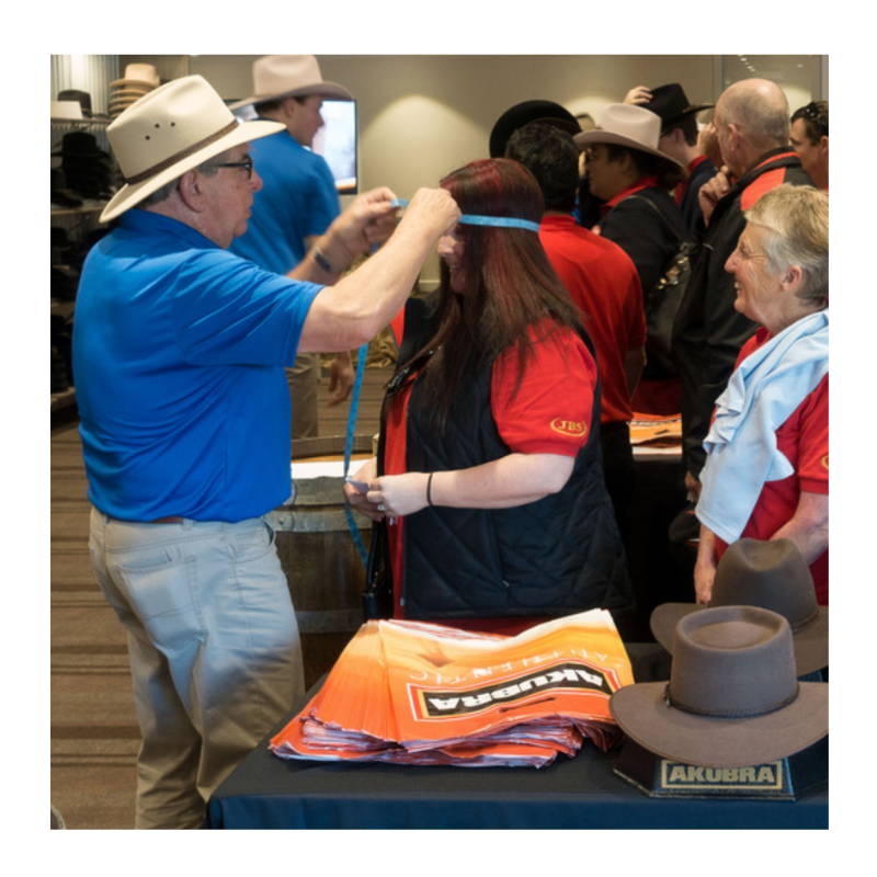 Gett fitted with Akubra hats on site