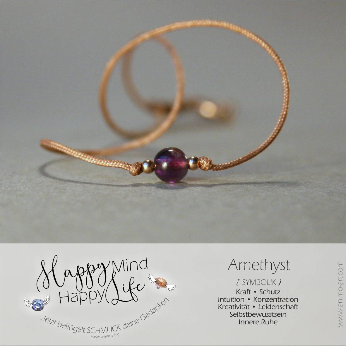 Amethyst Bedeutung / Armband mit Amethyst-Edelstein in lila violett, , Happy Mind Happy Life