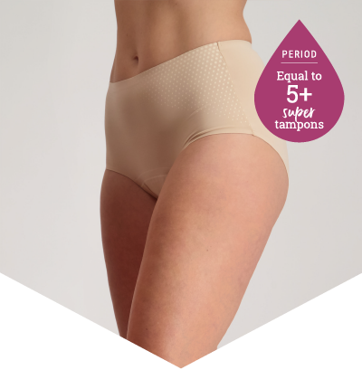 Full Brief Extra Beige - Heavy Period Underwear - 5 Super Tampons Worth - Just'nCase by Confitex