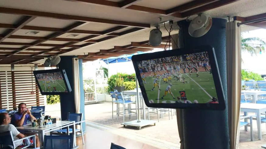 Weatherproof TV cover to put TV outside by pool at condos, hotels, motels, resorts, community centers