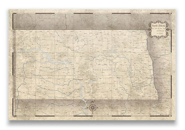 North Dakota Push pin travel map rustic vintage