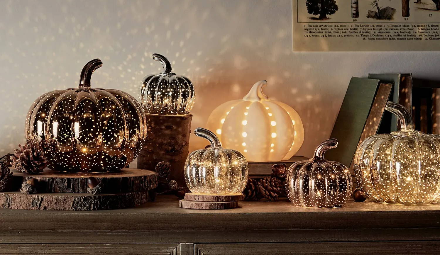 Assortment of pumpkin lights arranged at different heights and sizes on table