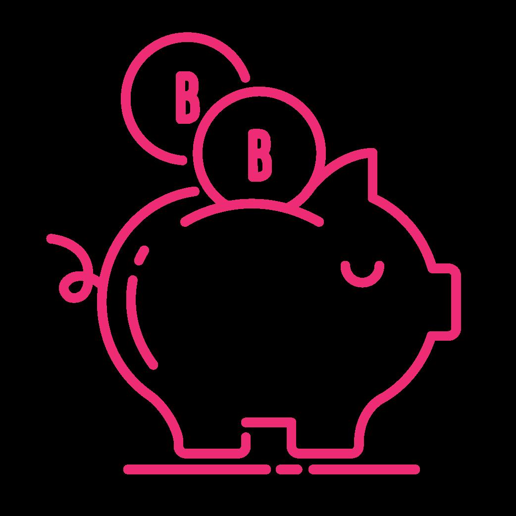 neon piggy bank icon