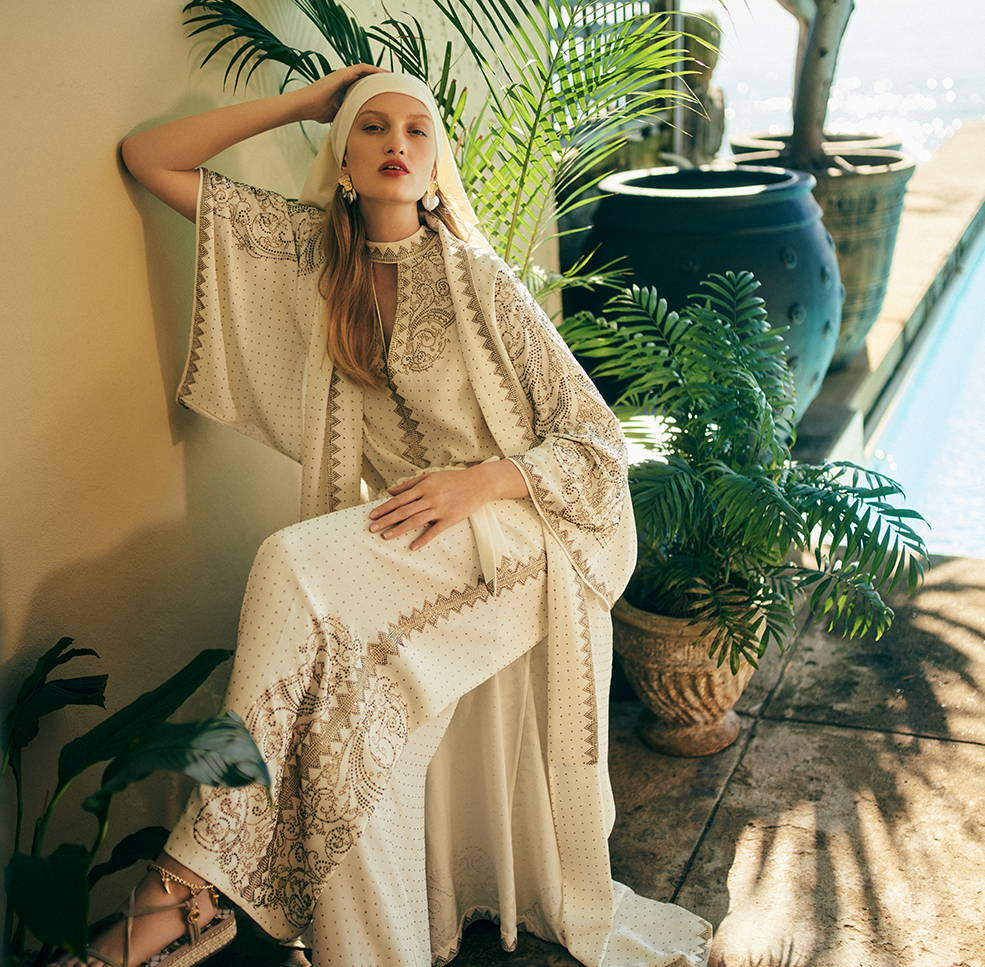 CAMILLA Luxe Cream kaftan, robe and pants, cream with gold embelishements