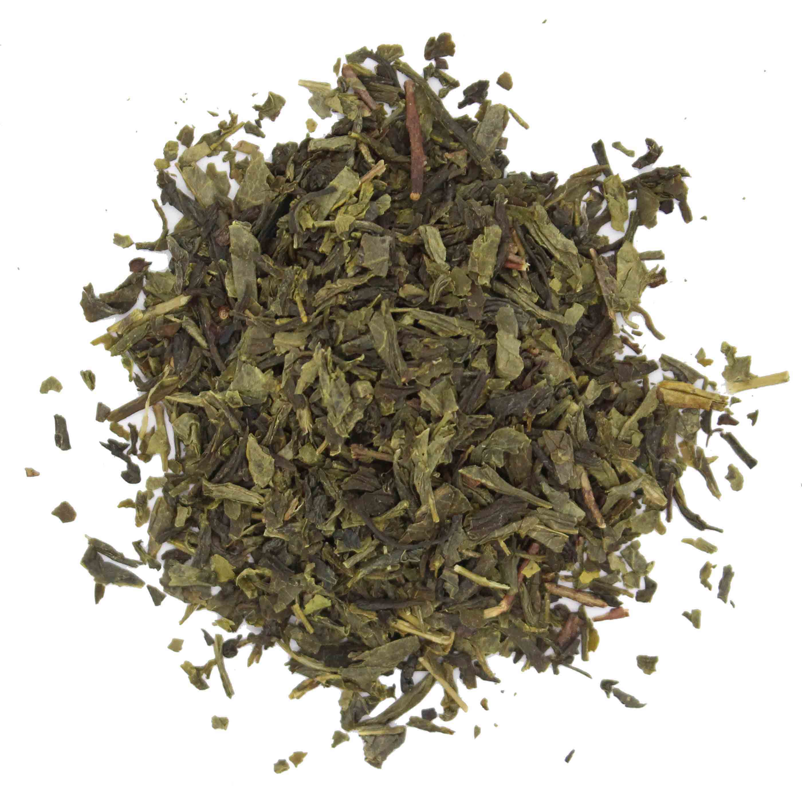 Grüner Bio Tee Haufen