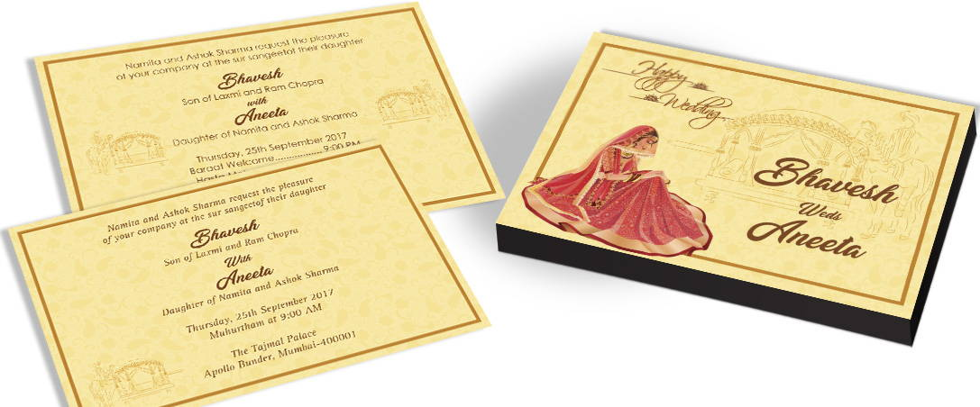 Bridal Themed Traditional Indian Marriage Invitaiton