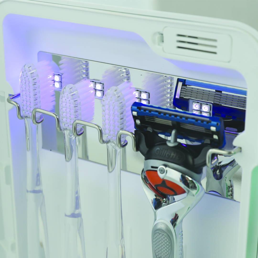Avari sterilizes your toothbrush with UV light.