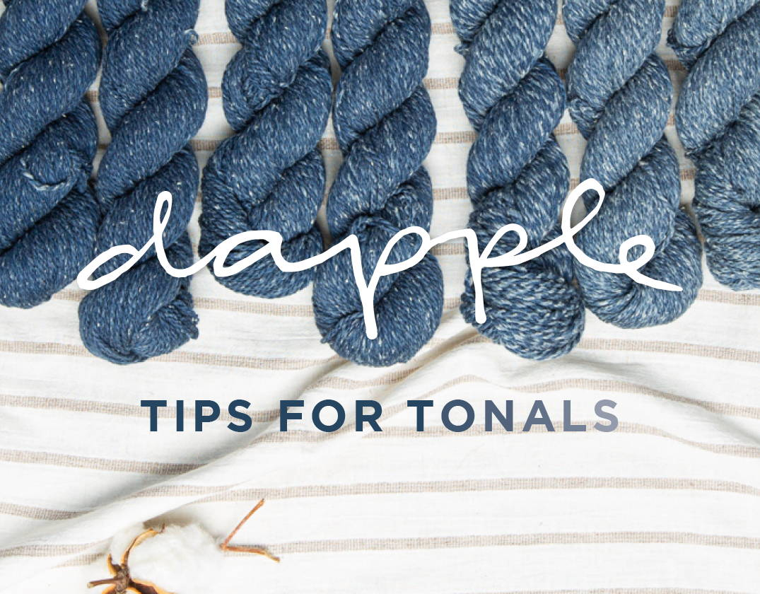 Dapple Tips for Tonals | Skeins of tonally-dyed Dapple Cosmos arranged in a row from darkest to lightest color variation.