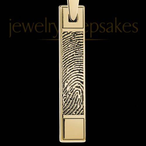 Gold Plated Bar Fingerprint Pendant