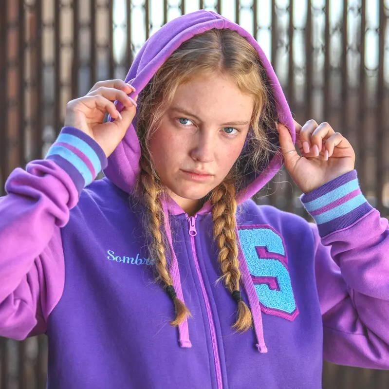 Female model wearing an Overwatch hoodie