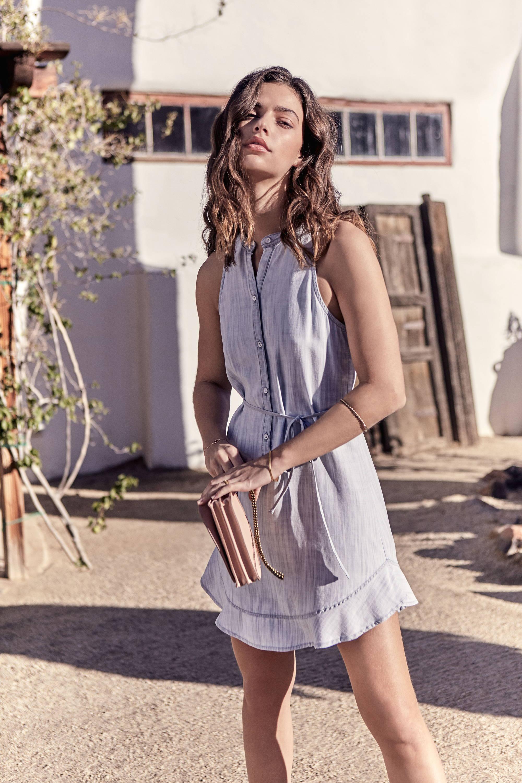 Womens Light Denim Chambray Wash Sleeveless Dress With Ruffle Hem Detail