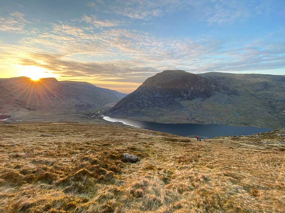 The view of Llyn Ogwen from Llyn Bochlwyd in Snowdonia