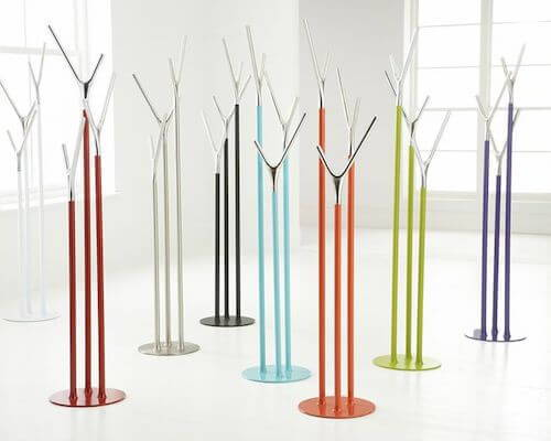 Colorful modern coat racks make a great first impression.