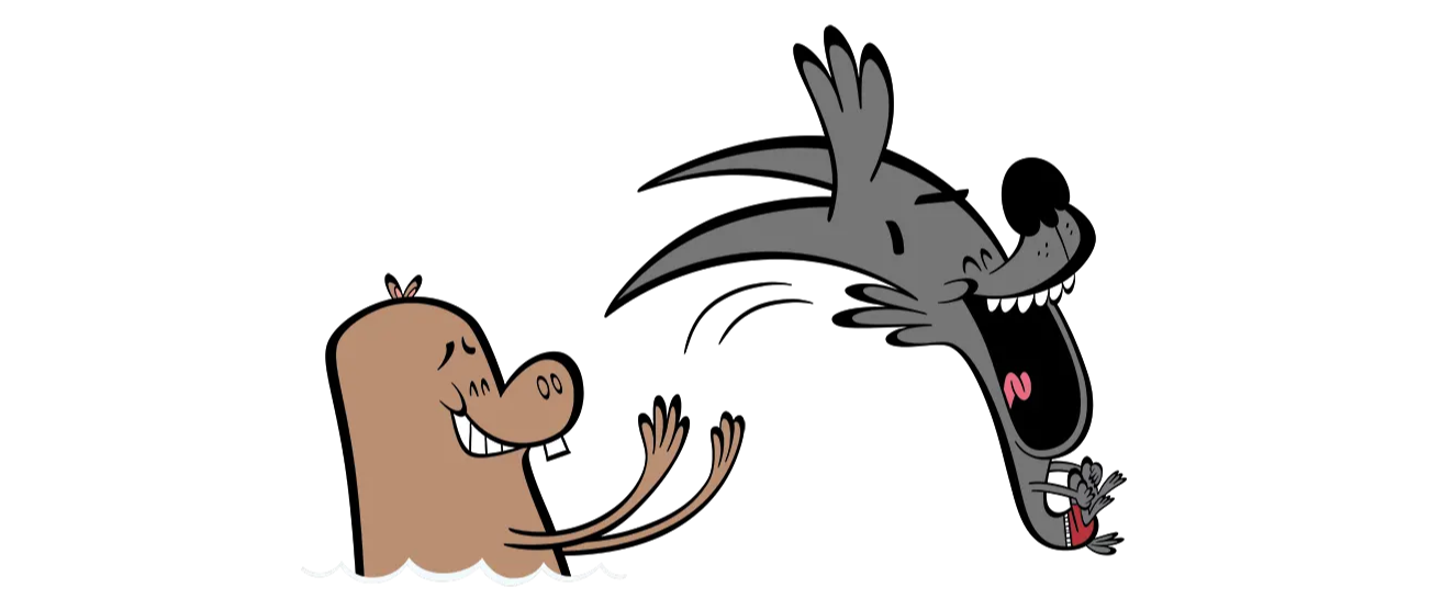 illustrated characters playing in the water
