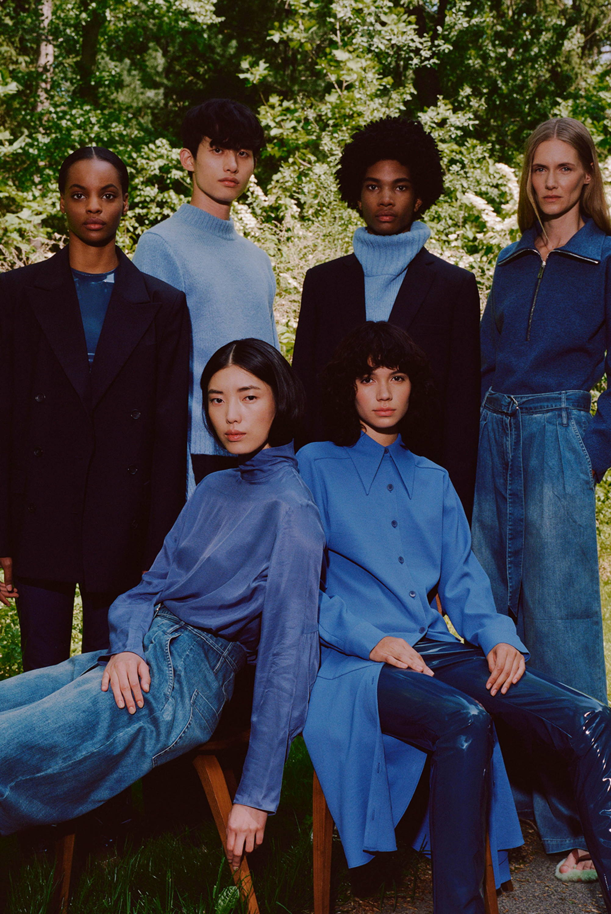 Group of models wearing blue pieces from the Resort 2020 collection.