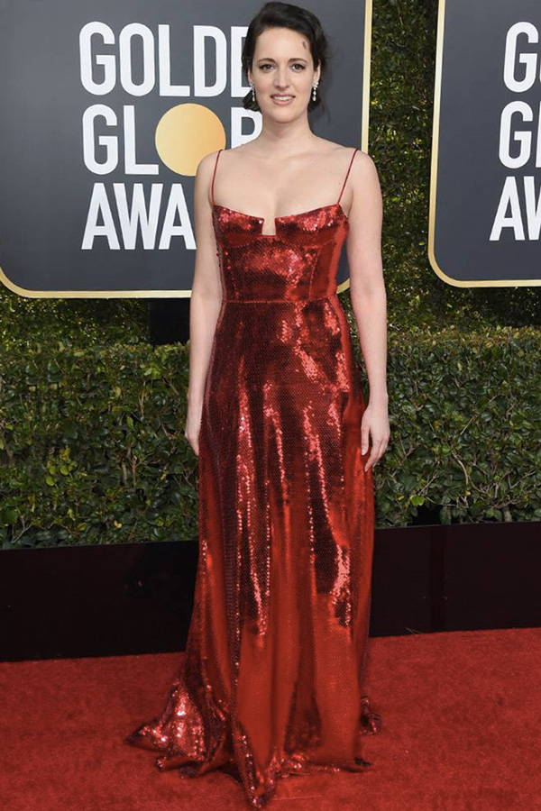 Phoebe Waller-Bridge wearing Galvin London Bustier Red Sequin Gown