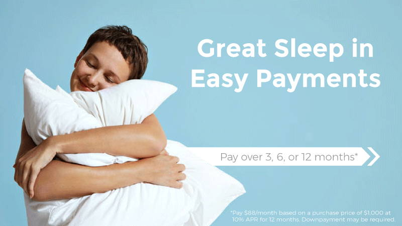Finance image. Great Sleep in Easy Payments. Pay over 3, 6, 12, Months. Pay $88 a month based on purchase price of $1,000 at 10% APR for 12 months. Downpayment may be required.