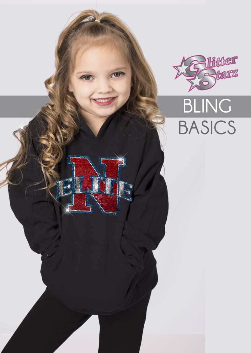 glitterstarz bling basics black hoodie with custom bling rhinestone team logo for cheer dance
