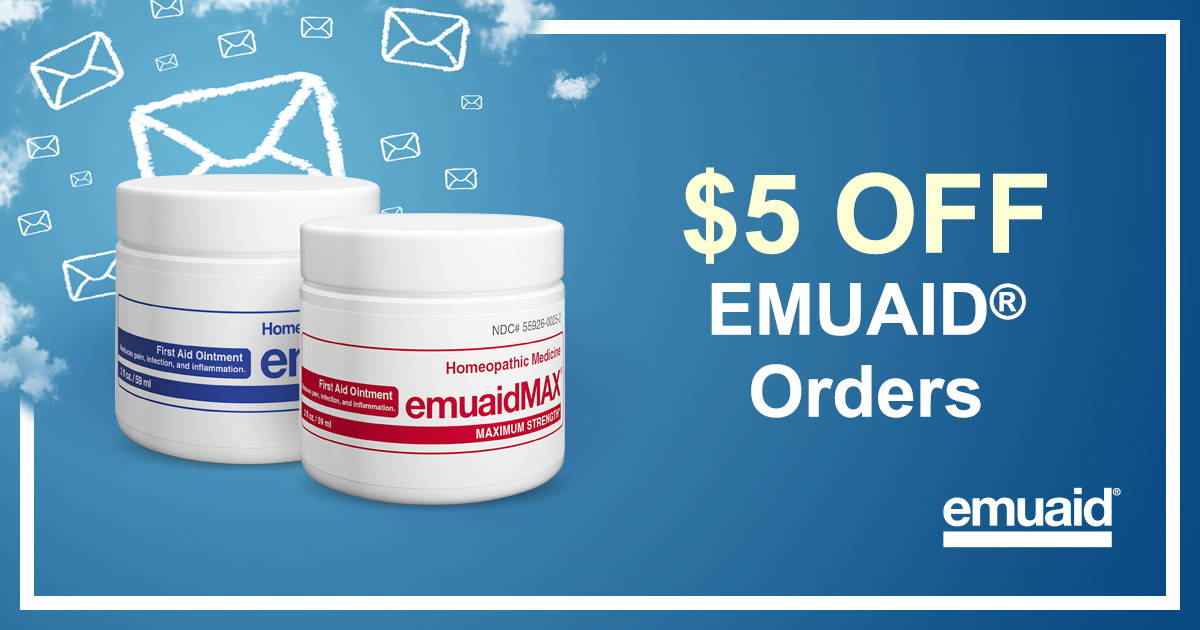 Image shows emuaid and emuaidmax 2oz ointment with a blue background. Text reads $5 OFF EMUAID Orders.