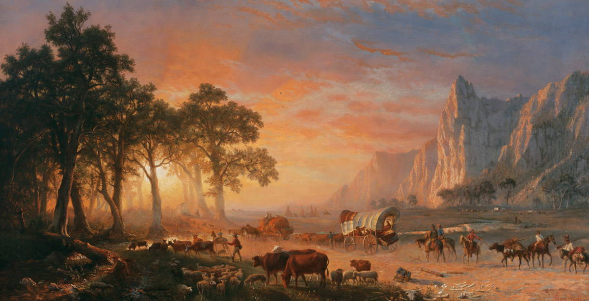 Emigrants Crossing the Plains—Sunset in: Tuckerman, Henry T. (1870)