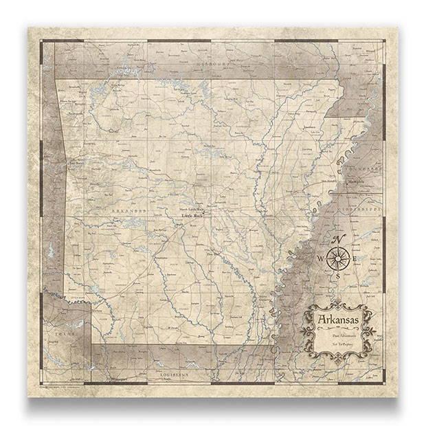 Arkansas Push pin travel map rustic vintage